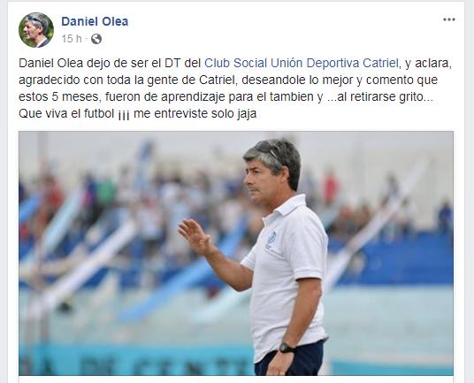 Catriel25Noticias.com Daniel-Olea Daniel Olea ya no es el DT de la UDC DEPORTES