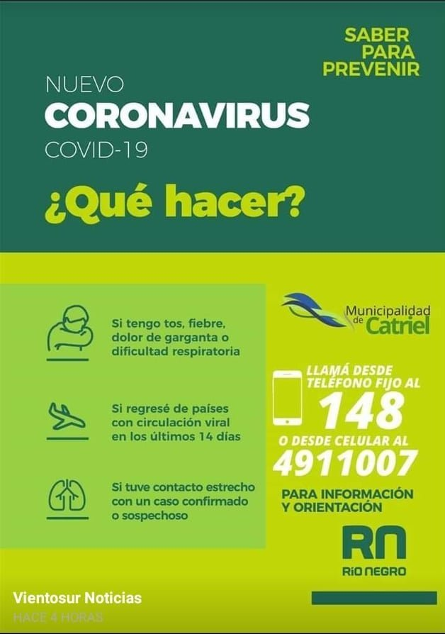 coronavirus telefonos catriel